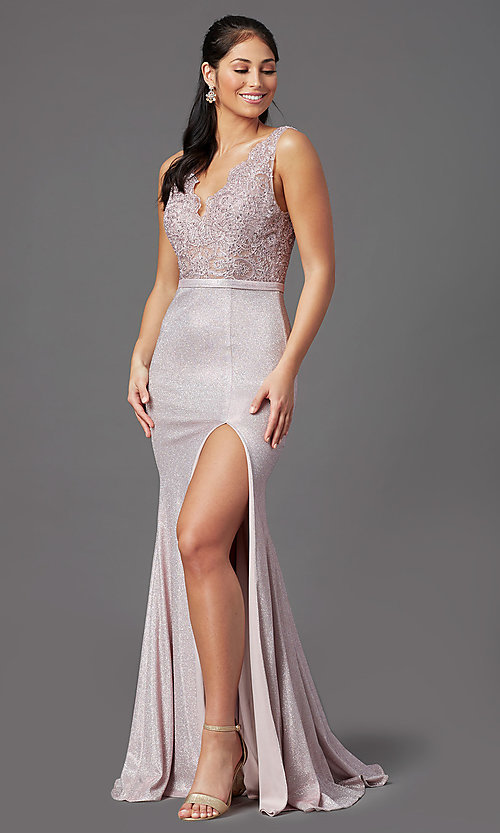 Image of sparkly embroidered-bodice long formal prom dress. Style: NA-E373 Detail Image 6
