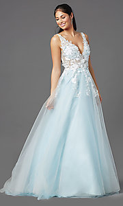 Image of embroidered-bodice long ball-gown-style prom dress. Style: NA-F339 Detail Image 3