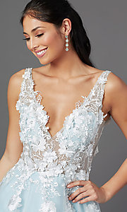 Image of embroidered-bodice long ball-gown-style prom dress. Style: NA-F339 Detail Image 5