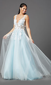 Image of embroidered-bodice long ball-gown-style prom dress. Style: NA-F339 Detail Image 6