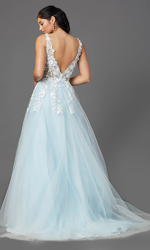 Image of embroidered-bodice long ball-gown-style prom dress. Style: NA-F339 Detail Image 4