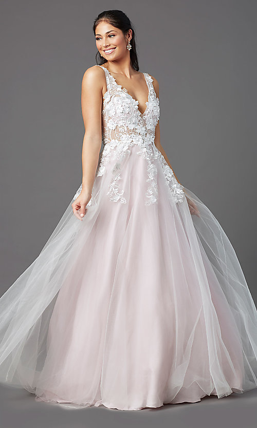 Image of embroidered-bodice long ball-gown-style prom dress. Style: NA-F339 Front Image