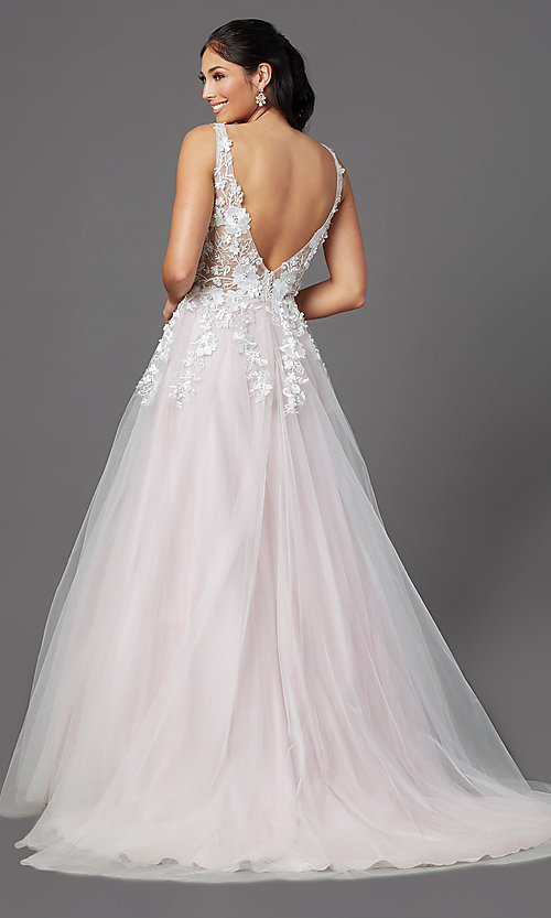Image of embroidered-bodice long ball-gown-style prom dress. Style: NA-F339 Back Image
