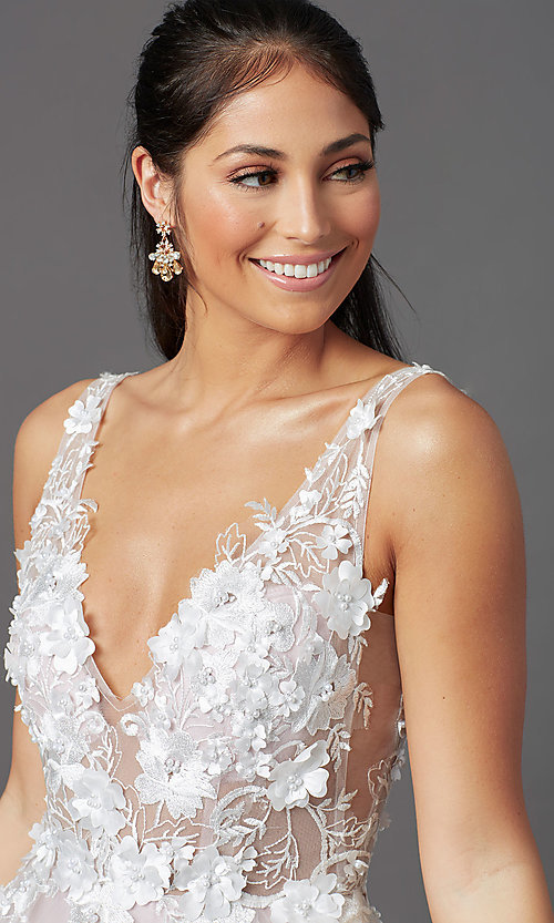 Image of embroidered-bodice long ball-gown-style prom dress. Style: NA-F339 Detail Image 1