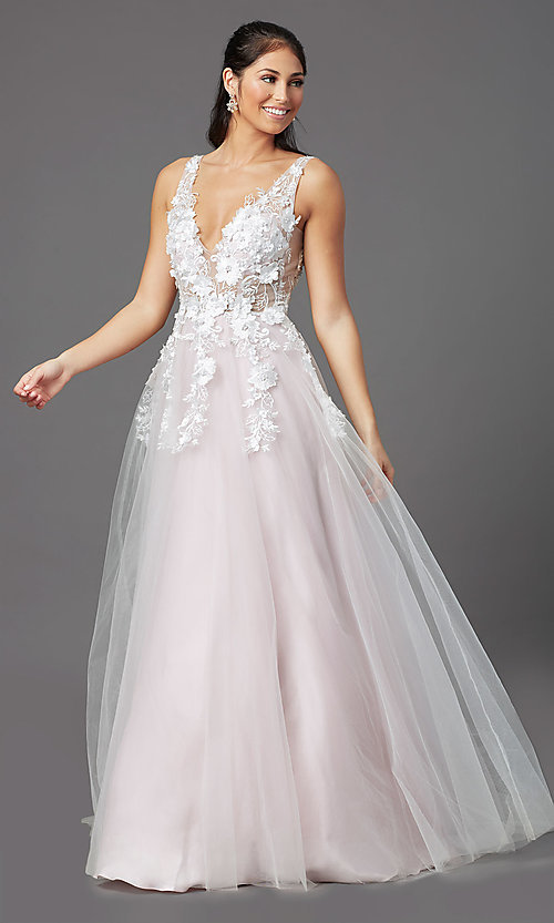 Image of embroidered-bodice long ball-gown-style prom dress. Style: NA-F339 Detail Image 2