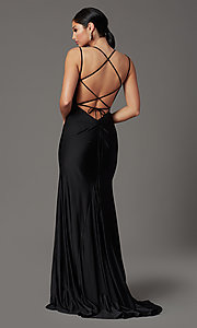 Image of corset-back long spandex formal prom dress Style: NA-C301 Detail Image 7