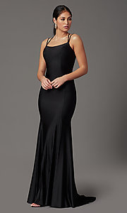 Image of corset-back long spandex formal prom dress Style: NA-C301 Detail Image 6