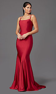 Image of corset-back long spandex formal prom dress Style: NA-C301 Front Image