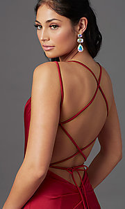 Image of corset-back long spandex formal prom dress Style: NA-C301 Detail Image 1