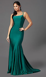 Image of corset-back long spandex formal prom dress Style: NA-C301 Detail Image 2