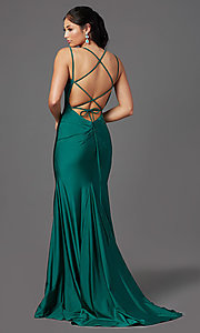 Image of corset-back long spandex formal prom dress Style: NA-C301 Detail Image 3