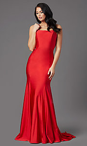 Image of corset-back long spandex formal prom dress Style: NA-C301 Detail Image 4