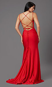 Image of corset-back long spandex formal prom dress Style: NA-C301 Detail Image 5
