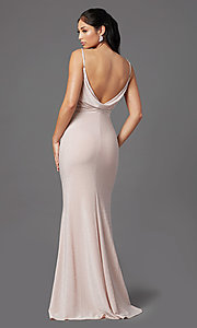 Image of sparkly glitter long rose pink formal prom dress. Style: NA-C307 Back Image
