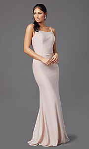 Image of sparkly glitter long rose pink formal prom dress. Style: NA-C307 Detail Image 2