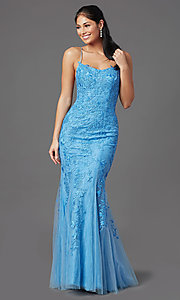 Image of corset-back long blue formal prom dress with lace. Style: NA-D321 Front Image