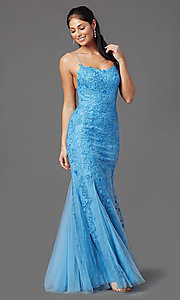 Image of corset-back long blue formal prom dress with lace. Style: NA-D321 Detail Image 2