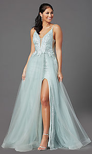 Image of long formal prom dress in sage green. Style: NA-E367 Front Image