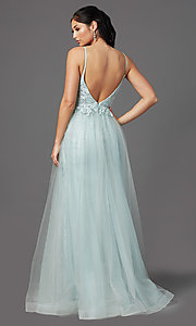 Image of long formal prom dress in sage green. Style: NA-E367 Back Image