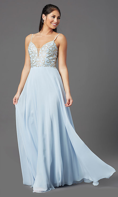 Image of corset-back long blue formal prom dress. Style: NA-L343 Front Image