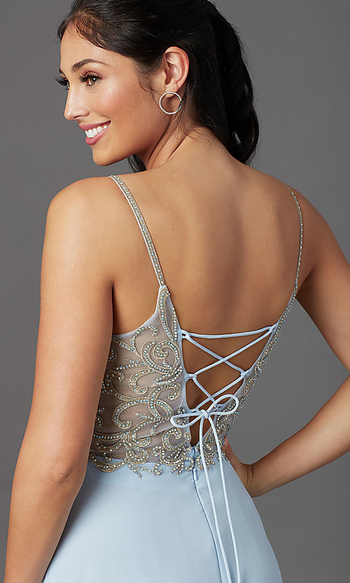 Image of corset-back long blue formal prom dress. Style: NA-L343 Detail Image 1