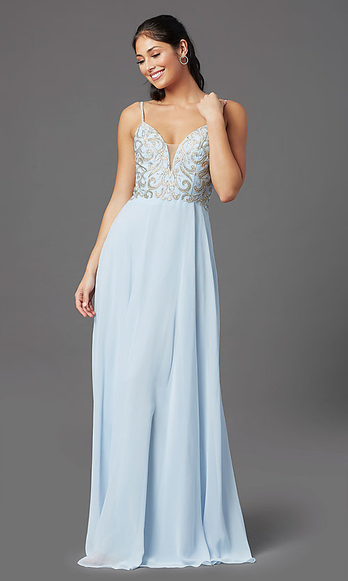 Image of corset-back long blue formal prom dress. Style: NA-L343 Detail Image 2