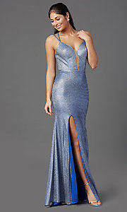 Image of glitter-jersey long sparkly prom dress. Style: NA-M330 Front Image