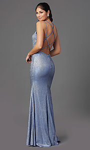 Image of glitter-jersey long sparkly prom dress. Style: NA-M330 Back Image