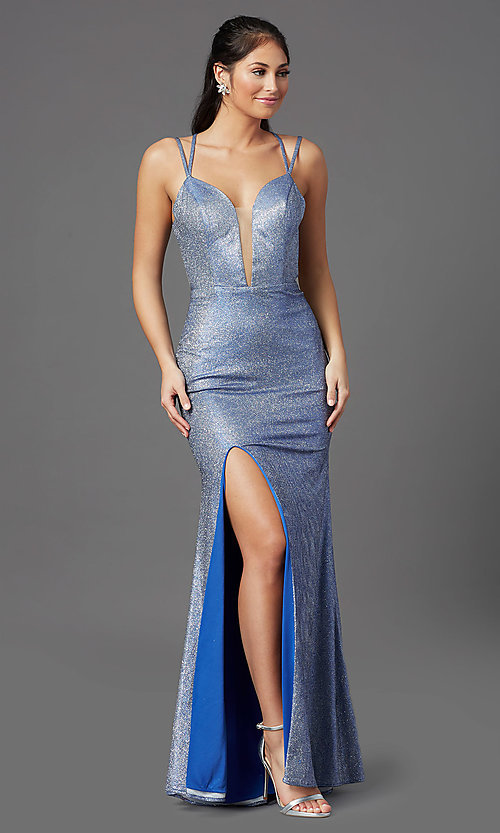 Image of glitter-jersey long sparkly prom dress. Style: NA-M330 Detail Image 2