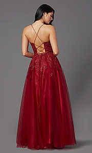 Image of long tulle burgundy formal prom dress with corset. Style: NA-R351 Back Image