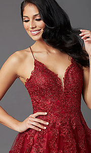 Image of long tulle burgundy formal prom dress with corset. Style: NA-R351 Detail Image 1