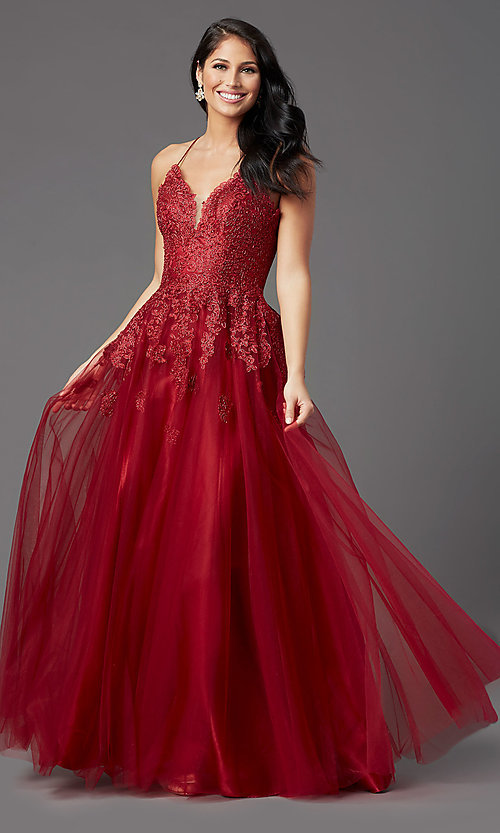 Image of long tulle burgundy formal prom dress with corset. Style: NA-R351 Front Image