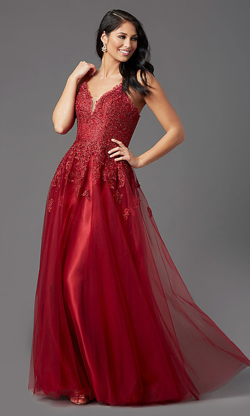 Image of long tulle burgundy formal prom dress with corset. Style: NA-R351 Detail Image 2