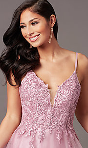 Image of long formal prom dress with embroidered applique. Style: NA-R357 Detail Image 8
