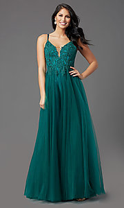 Image of long formal prom dress with embroidered applique. Style: NA-R357 Front Image