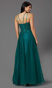 Image of long formal prom dress with embroidered applique. Style: NA-R357 Back Image