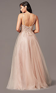 Image of long formal prom dress with embroidered applique. Style: NA-R357 Detail Image 4
