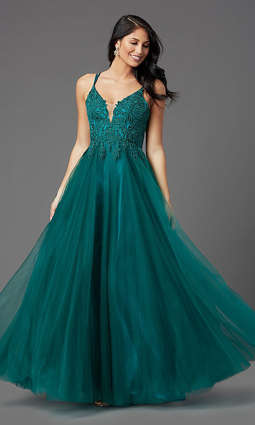 Image of long formal prom dress with embroidered applique. Style: NA-R357 Detail Image 2