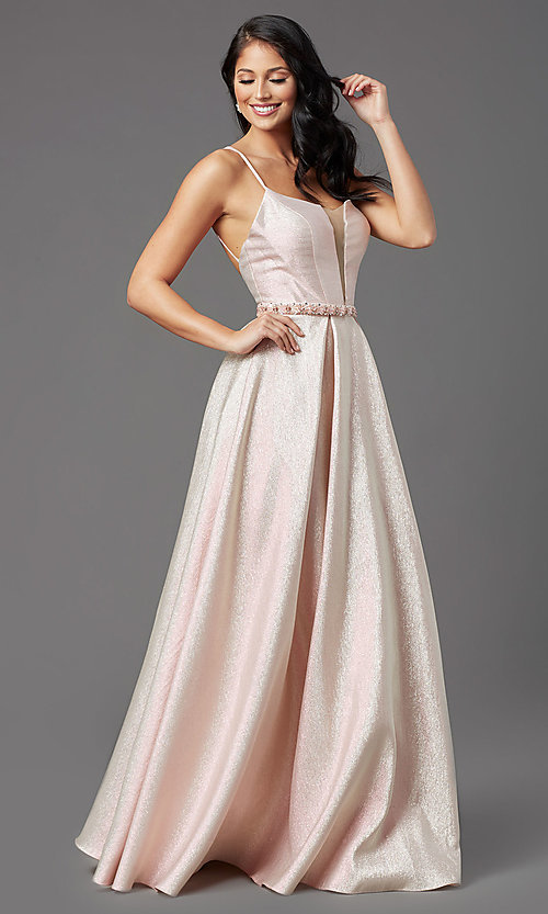 Image of metallic satin v-neck prom dress with box pleats. Style: NA-M271 Detail Image 1