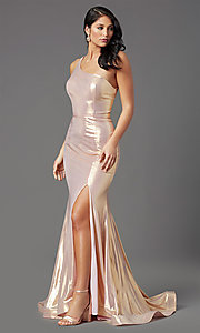 Image of metallic spandex one-shoulder long prom dress. Style: NA-M327 Detail Image 1