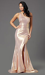 Image of metallic spandex one-shoulder long prom dress. Style: NA-M327 Front Image
