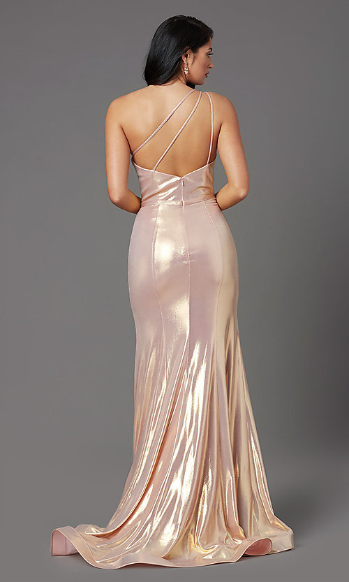 Image of metallic spandex one-shoulder long prom dress. Style: NA-M327 Back Image