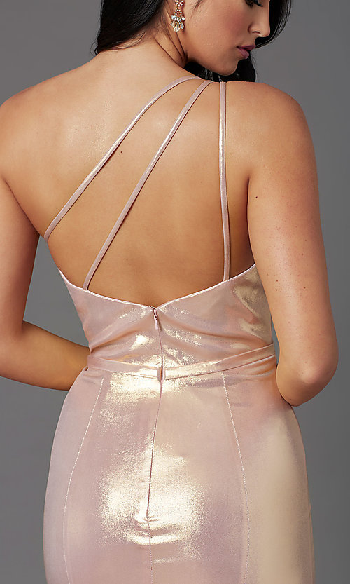 Image of metallic spandex one-shoulder long prom dress. Style: NA-M327 Detail Image 2