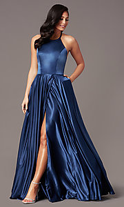 Image of long faux-wrap corset-style satin prom dress. Style: NA-PL-C209 Detail Image 3