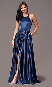 Image of long faux-wrap corset-style satin prom dress. Style: NA-PL-C209 Detail Image 6