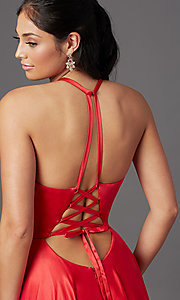 Image of long faux-wrap corset-style satin prom dress. Style: NA-PL-C209 Detail Image 1
