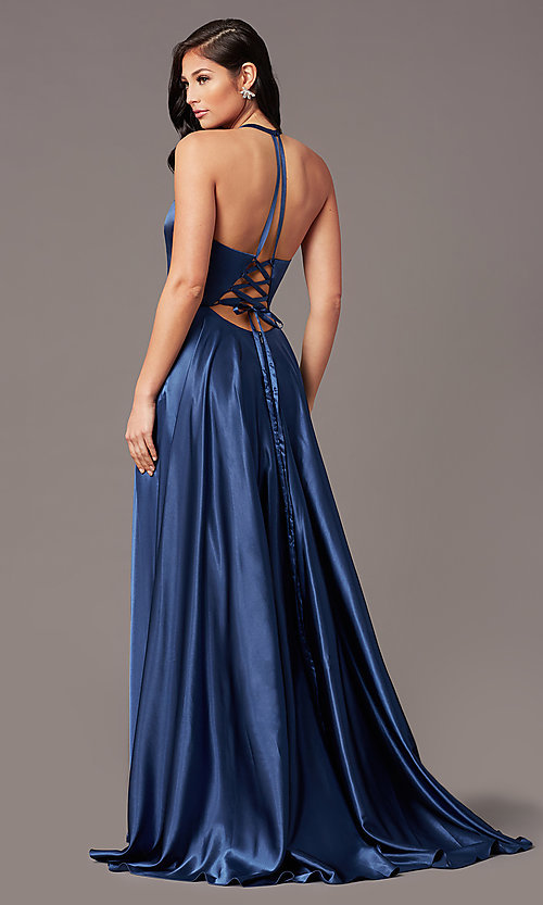Image of long faux-wrap corset-style satin prom dress. Style: NA-PL-C209 Detail Image 4