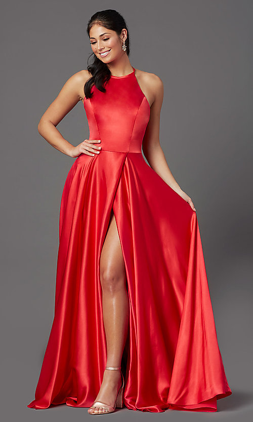 Image of long faux-wrap corset-style satin prom dress. Style: NA-PL-C209 Front Image