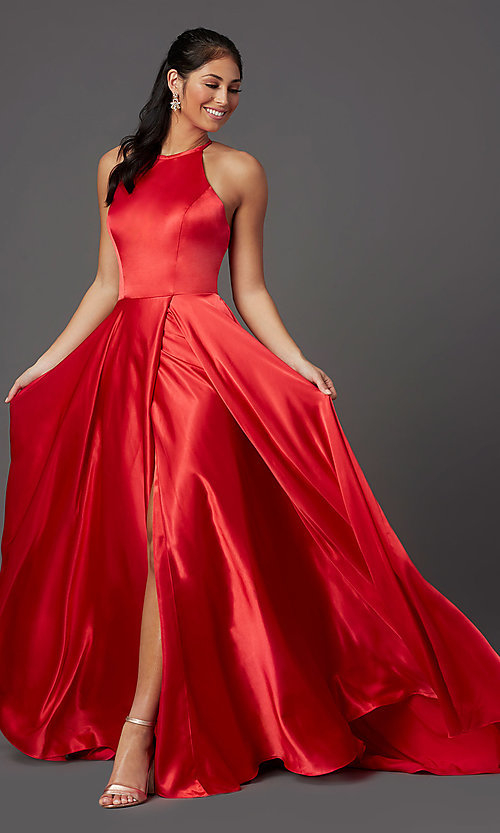 Image of long faux-wrap corset-style satin prom dress. Style: NA-PL-C209 Detail Image 2