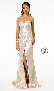Image of long strapless formal prom dress with corset back. Style: FB-GL2894 Detail Image 7